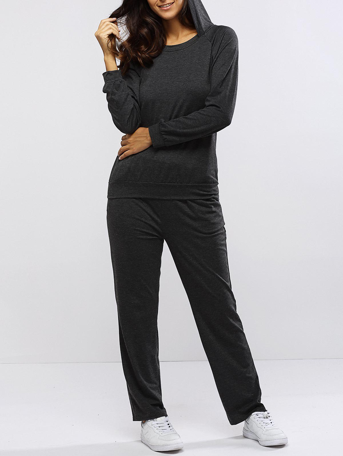 Pure Color Hoodie and Loose Fitting Sport Pants Set, Gray