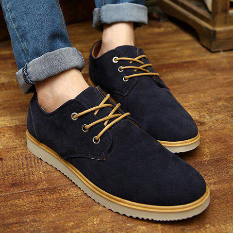 Preppy Suede and Lace-Up Design Men's Casual Shoes - BLACK 44