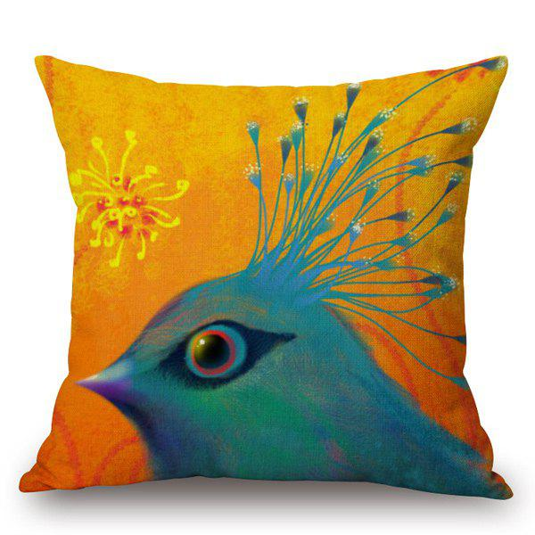 Creative Hand-Painted Bird Printed Pillow Case - ORANGE