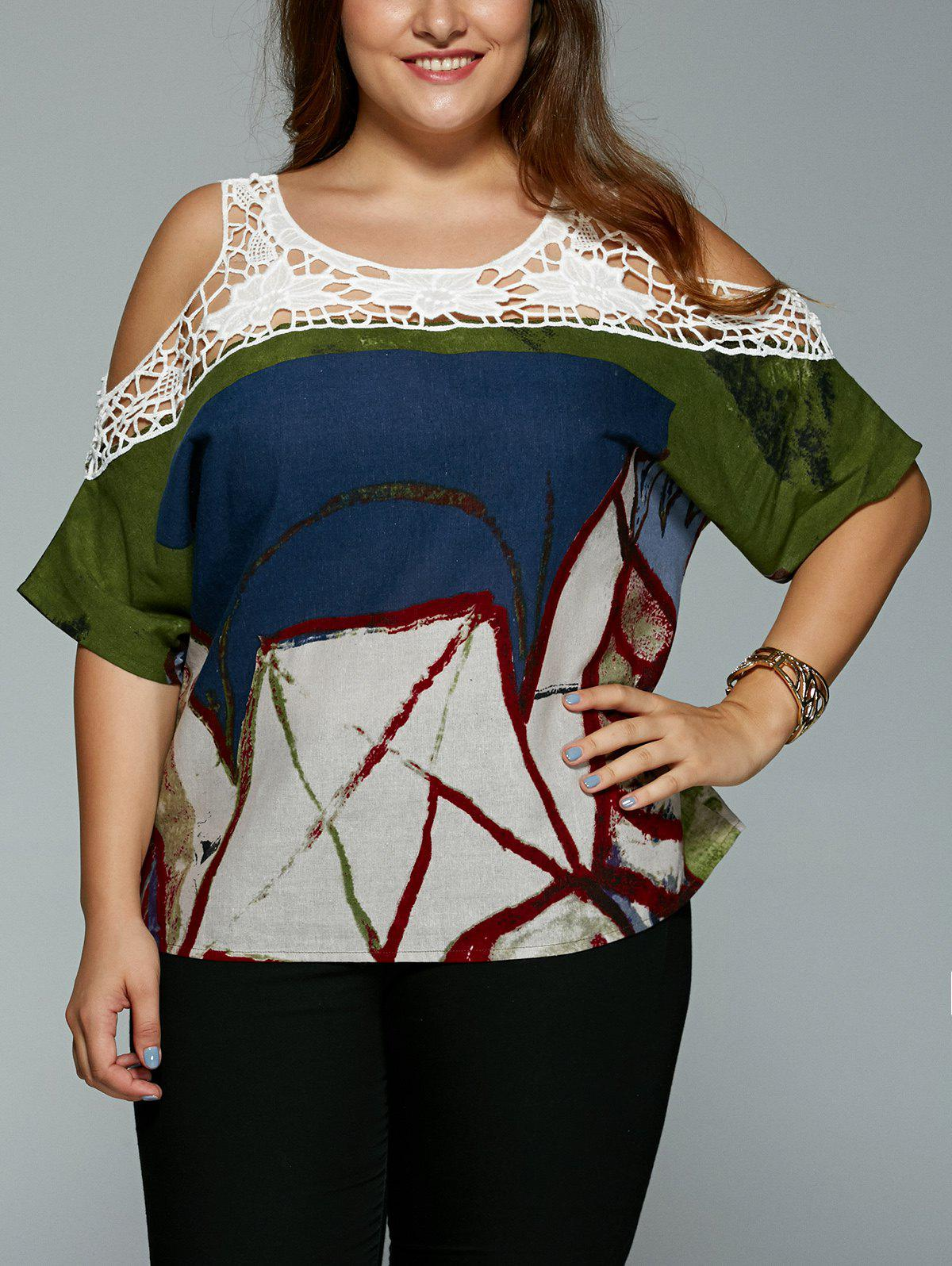 Plus Size Vintage Tribal Print Lace Spliced Hollow Out Blouse