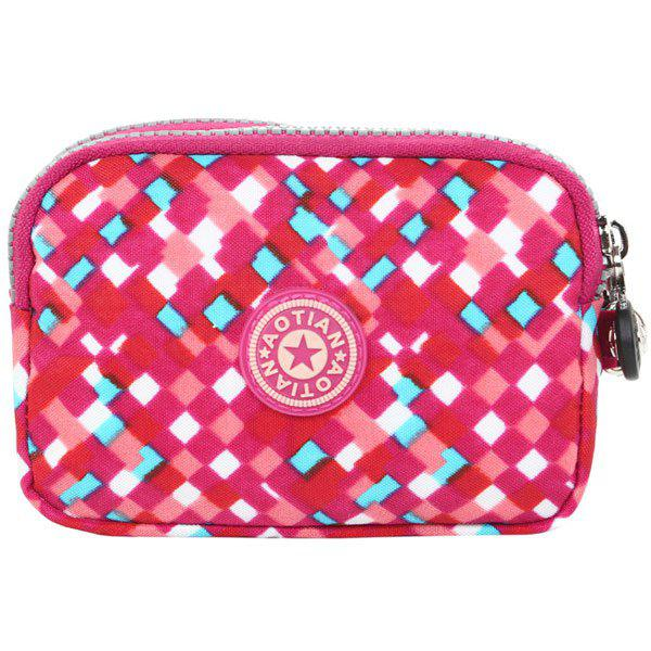 Simple Zippers and Plaid Pattern Design Women's Coin Purse - RED