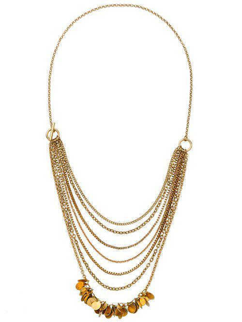 Chic Style Gold Plated Multilayered Disc Charm Pendant Necklace - COPPER COLOR