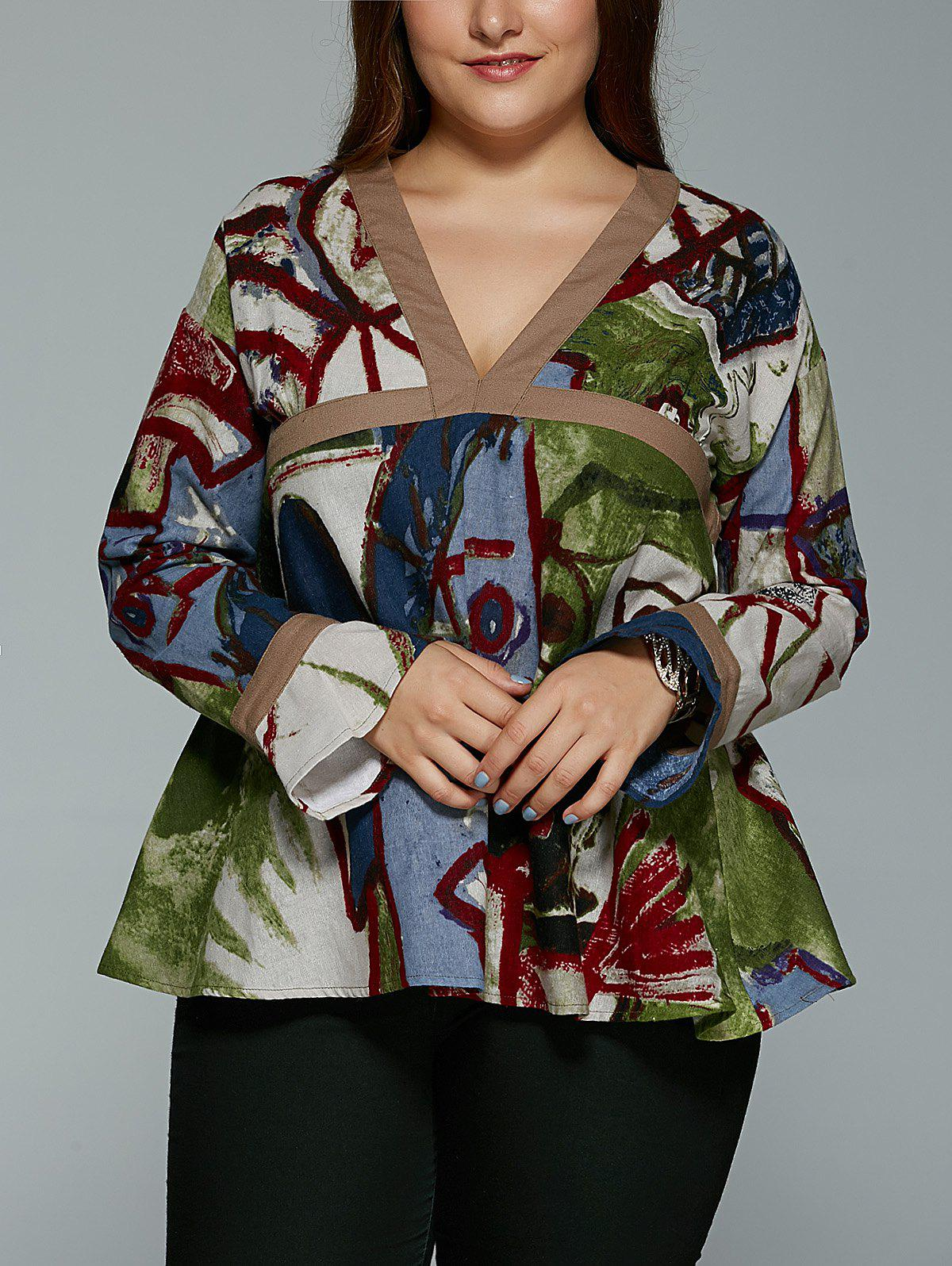 Plus Size Vintage Tribal Print V Neck Blouse - COLORMIX 5XL