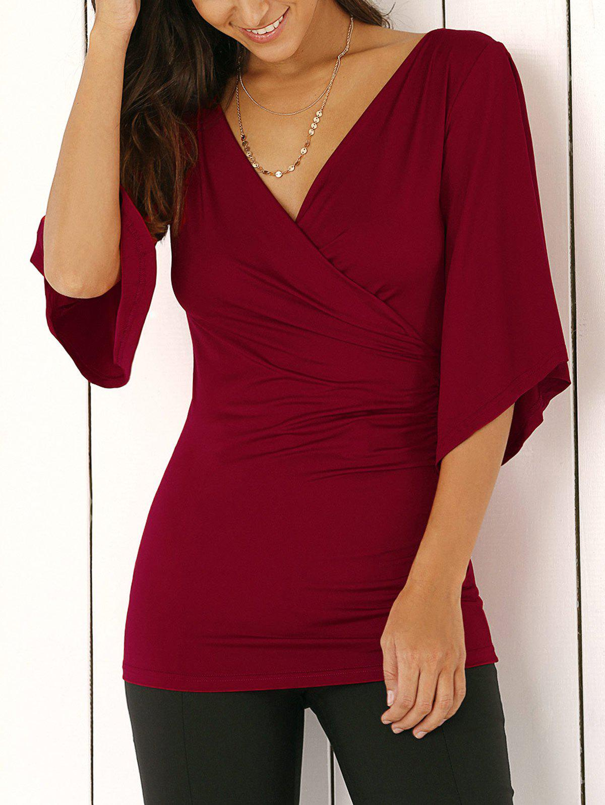 Wrap Plunge Neck Slimming Blouse - WINE RED L