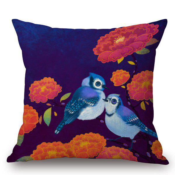 Gorgeous Hand-Painted Bird and Peony Printed Pillow Case - DEEP BLUE