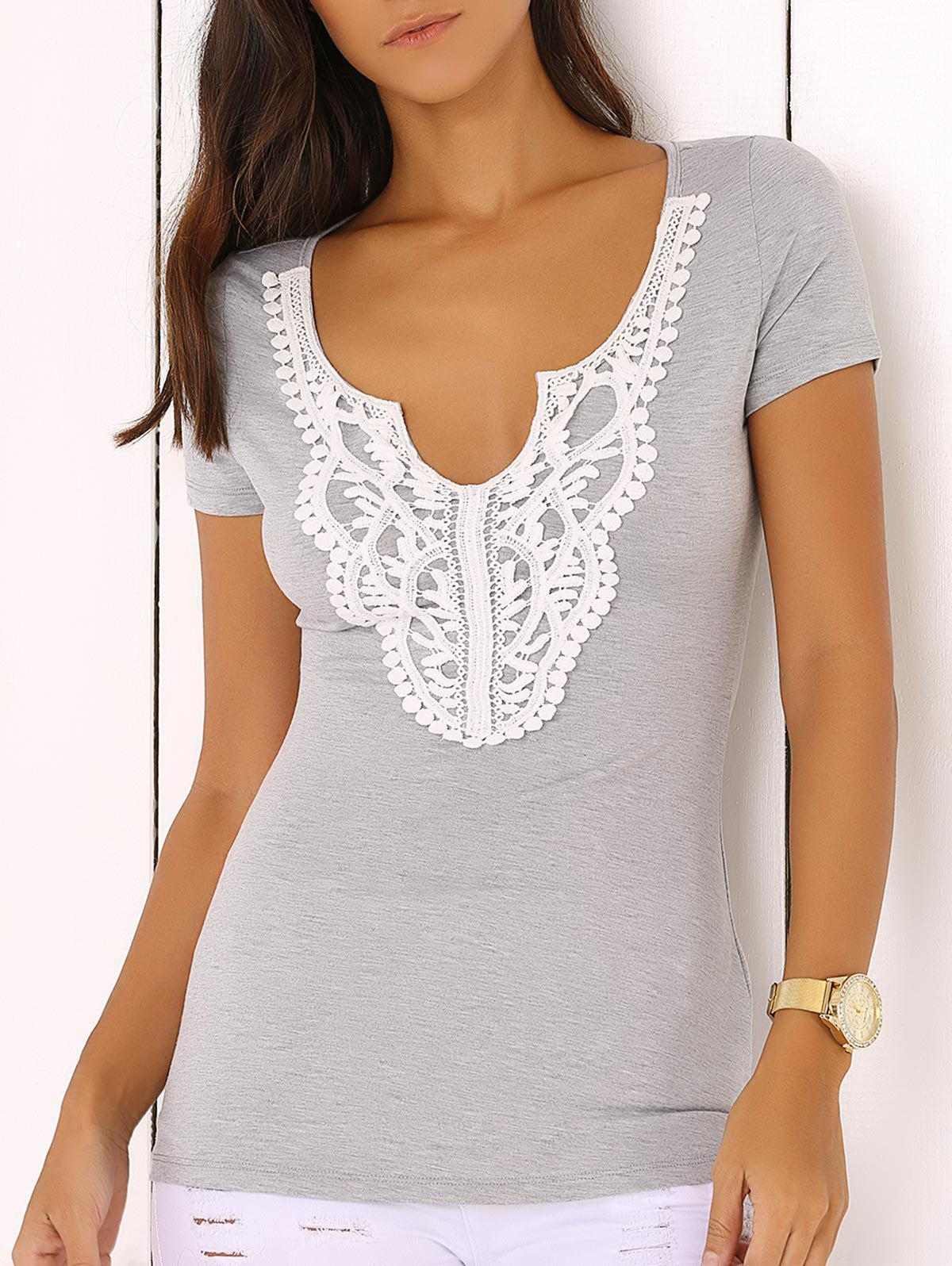 Scalloped Plunge Neck Lace Spliced Jabot Sliming T-Shirt - LIGHT GRAY L