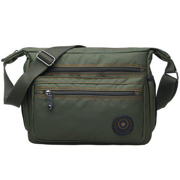 Casual Zippers and Nylon Design Men's Messenger Bag - ARMY GREEN