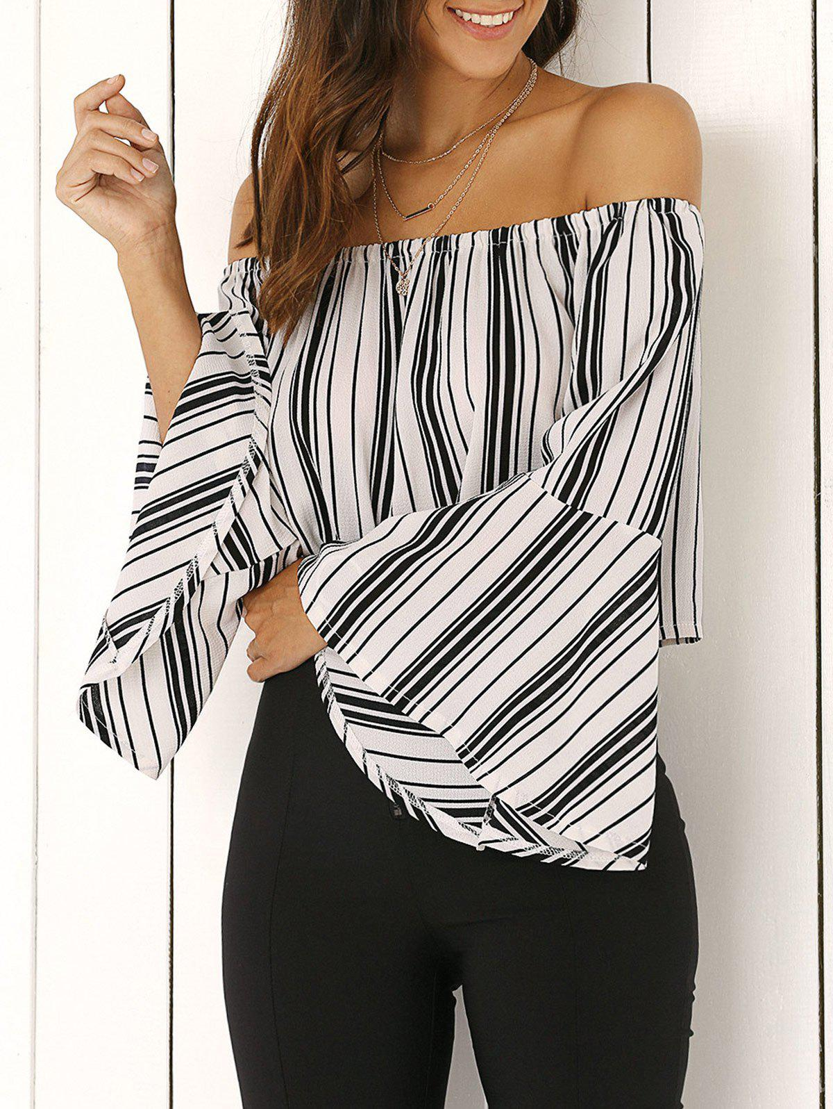 Off The Shoulder Bell Sleeve Stripe Cropped Blouse - WHITE XL