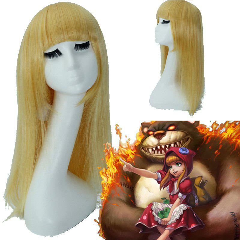 League of Legends LOL	Red Riding Annie Golden Full Bang Straight Layered Cosplay Wig