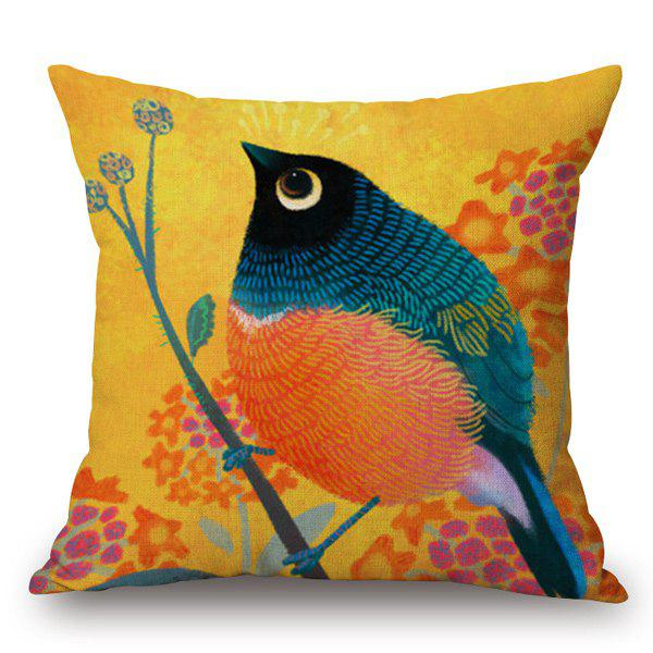 Funny Hand-Painted Rounded Bird and Flower Printed Pillow Case