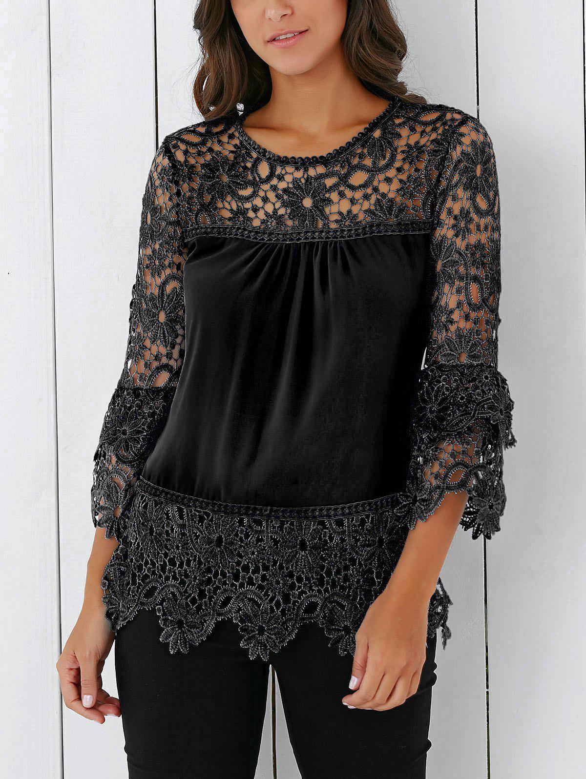 Lace Insert Crochet Lace Blouse - BLACK M