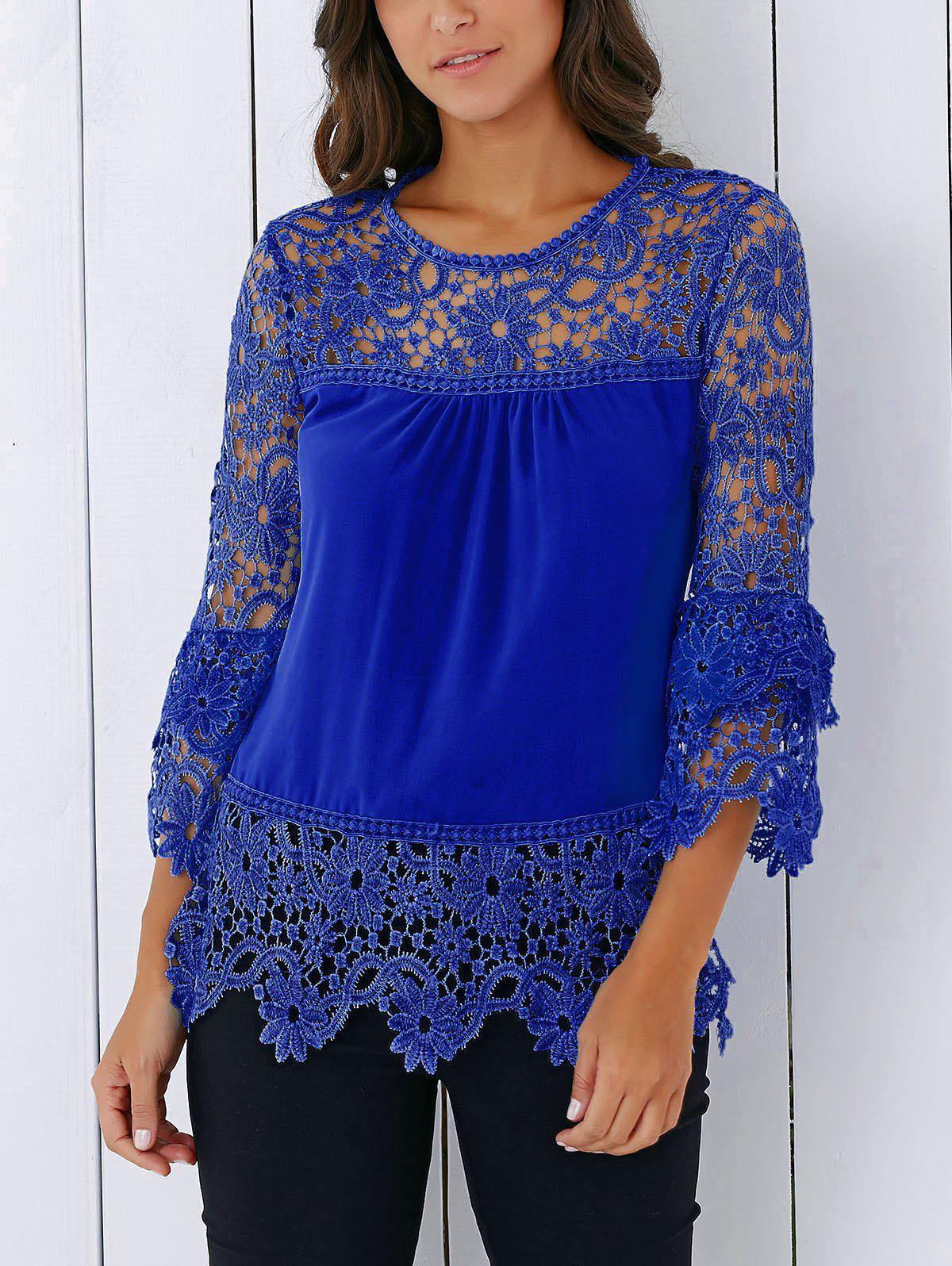 Lace Insert Crochet Lace Blouse - BLUE M