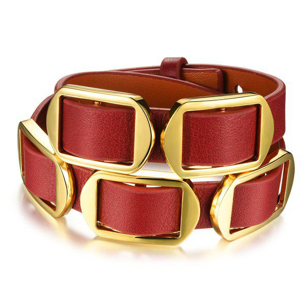 Alloy Buckle Faux Leather Bracelet - RED