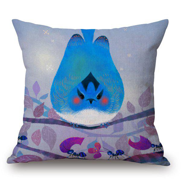 Funny Hand-Painted Bird Ants Leaf Printed Pillow Case - BLUE GRAY