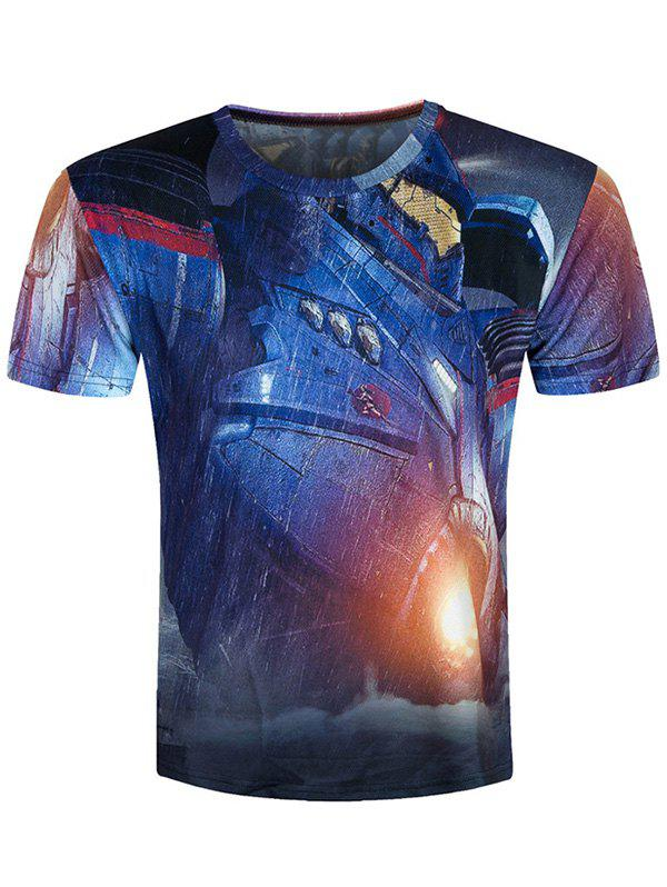 3D Machine Printed Short Sleeve Cool T-Shirt - BLUE 2XL