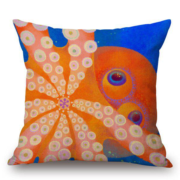 Funny Hand-Painted Octopus Printed Pillow Case - SAPPHIRE BLUE