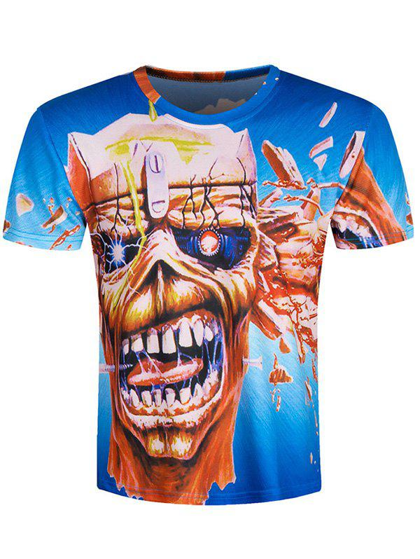 Skull Pattern Short Sleeve Cool T-Shirt - 2XL BLUE