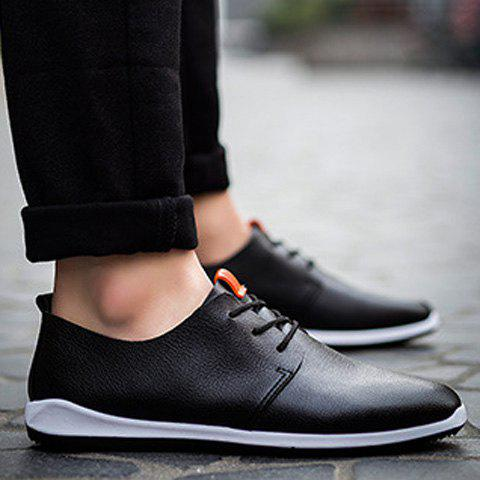 Concise PU Leather and Lace-Up Design Men's Casual Shoes - BLACK 41