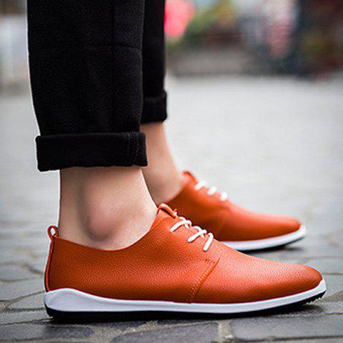 Concise PU Leather and Lace-Up Design Men's Casual Shoes - ORANGE 43
