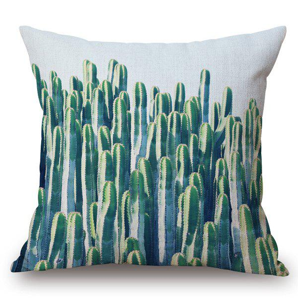 Tropical Style Vivid Cactus Printed Pillow Case - WHITE