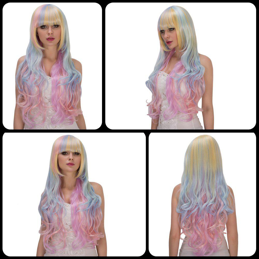 Rainbow Faddish Long Full Bang Wavy Film Character Cosplay Wig - COLORMIX