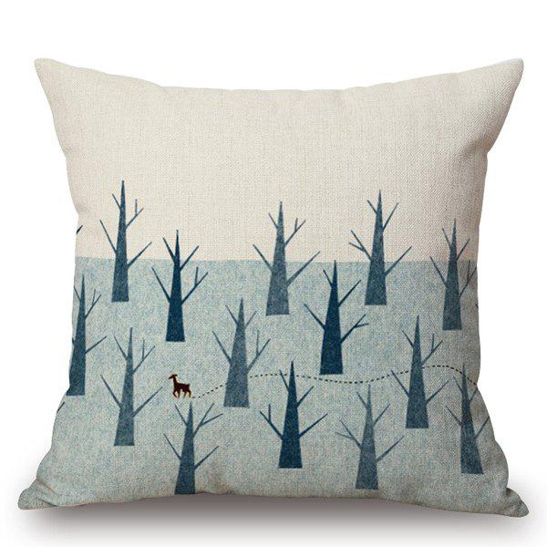 Mordern Style Desolate Trees Printed Pillow Case - OFF WHITE