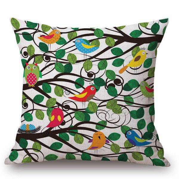 Creative Hand-Painted Birds and Leaf Branch Printed Pillow Case