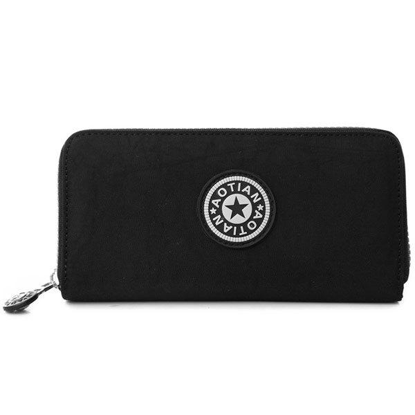 Casual Solid Color and Zip Design Women's Wallet - BLACK