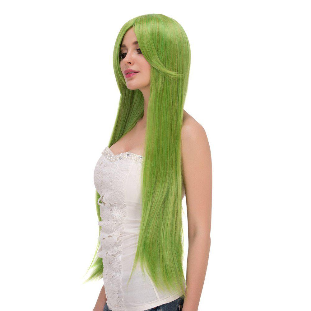 2018 Fairy Neon Bright Green Long Straight Side Bang Film