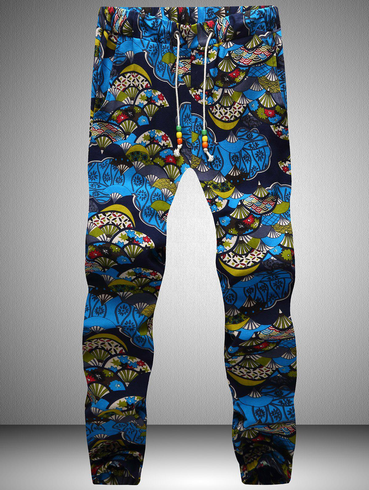 Retro Printed Drawstring Waist Jogger Pants