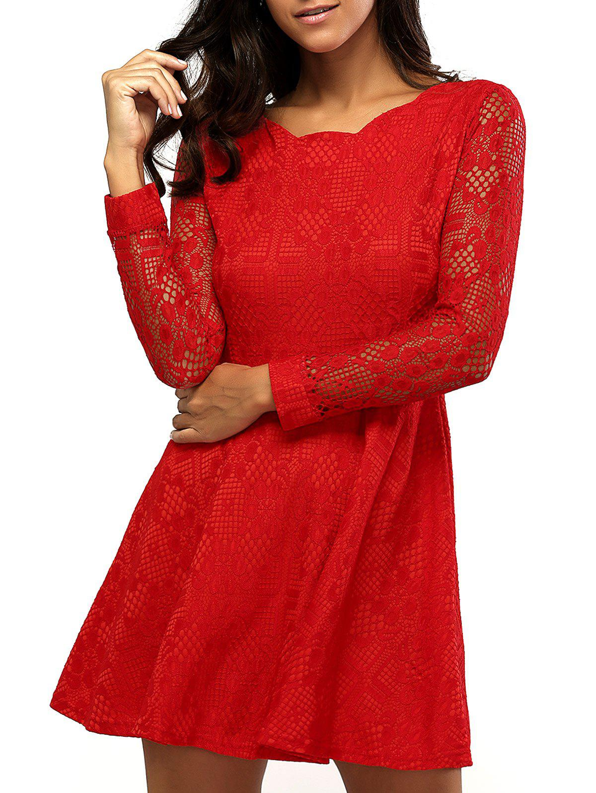 Lacework Sleeve Scalloped Neck Fit and Flare Dress - RED 2XL