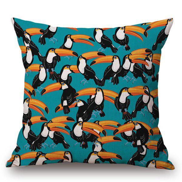 Casual Hand-Painted Toucan Printed Pillow Case - TURQUOISE