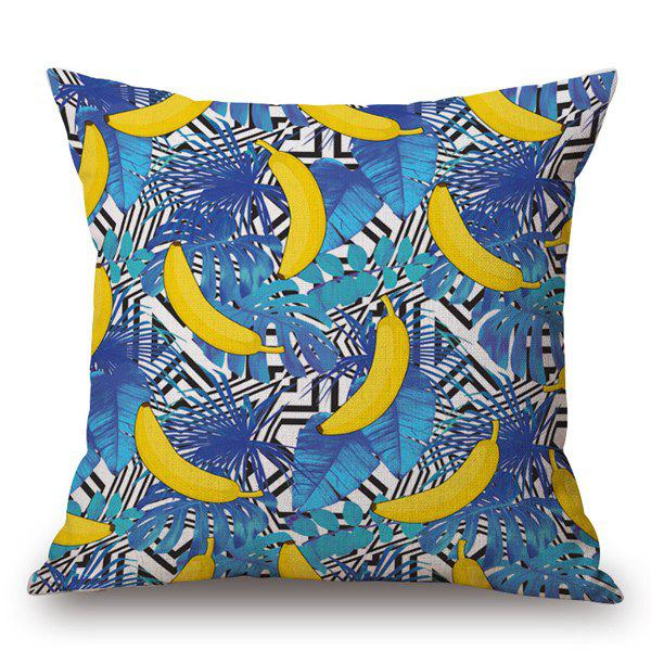 Casual Hand-Painted Banana and Leaf Printed Pillow Case - BLUE