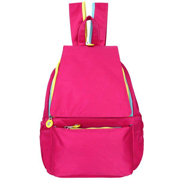 Concise Magnetic Closure and Nylon Design Women's Backpack - ROSE MADDER