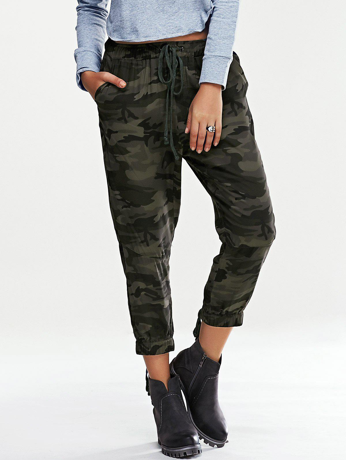 Trendy Lace-Up Elastic Waist Camouflage Print Women's Pants - ARMY GREEN CAMOUFLAGE XL