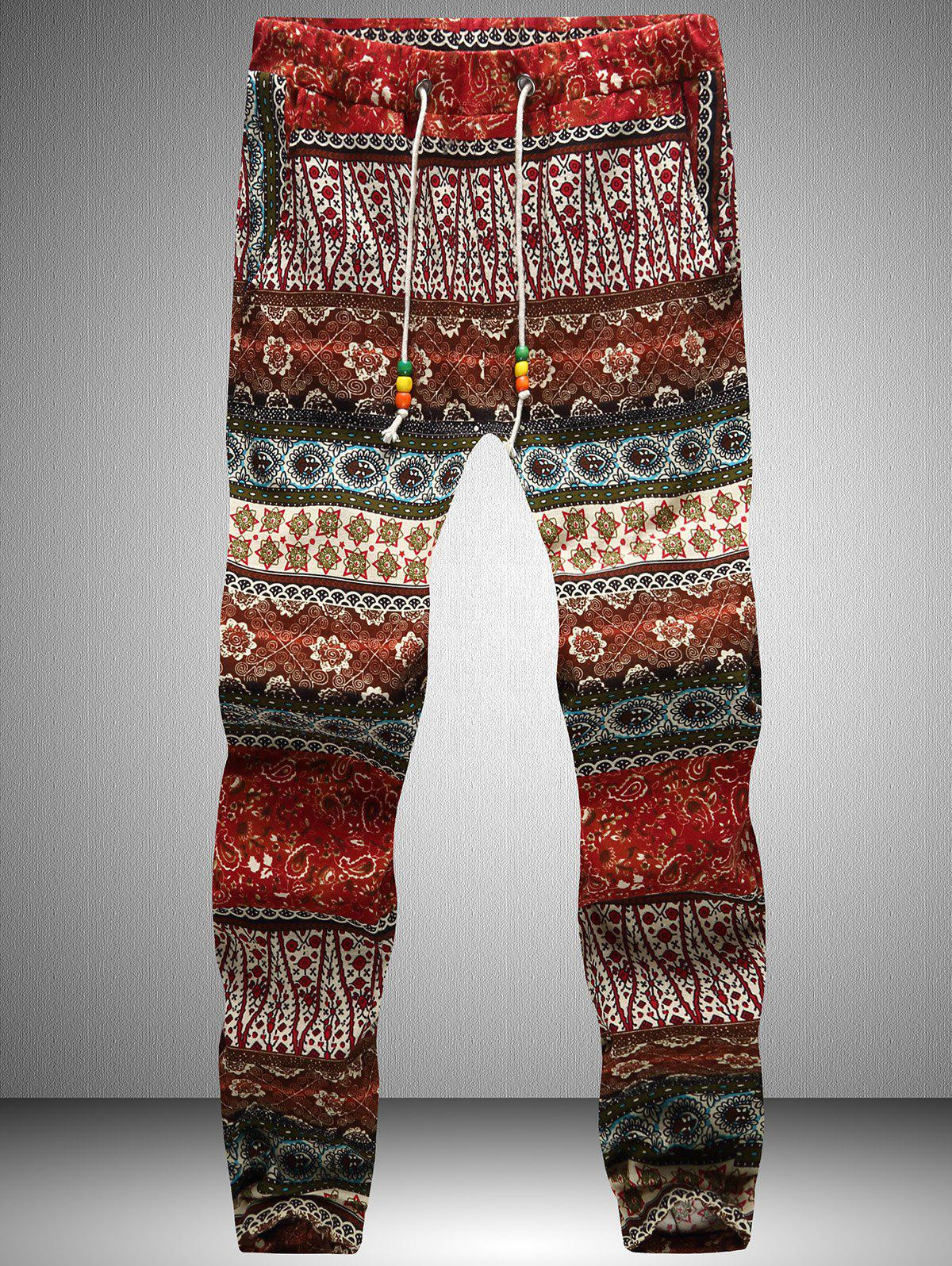 Drawstring Waist Tribal Printed Jogger Pants - RED 3XL