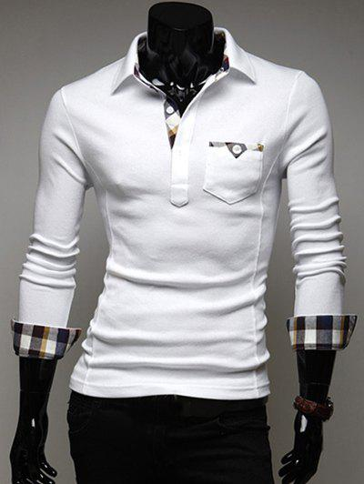 Long Sleeve Plaid Pocket Edge Design Polo Shirt - WHITE 2XL