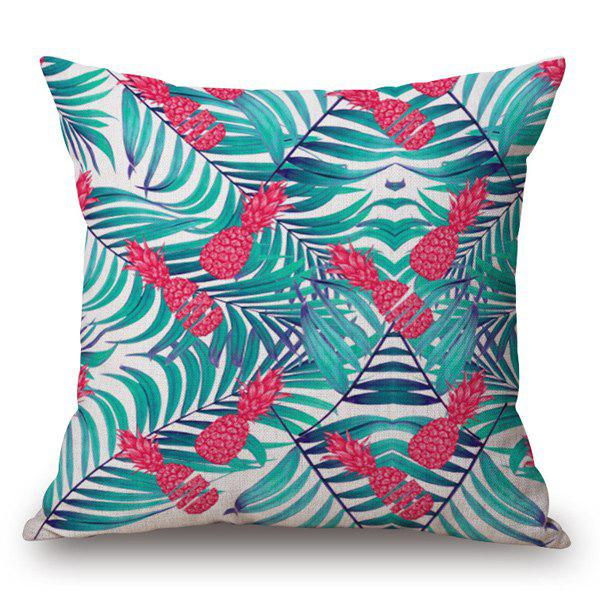 Casual Hand-Painted Pineapple and Fern Printed Pillow Case - OFF WHITE