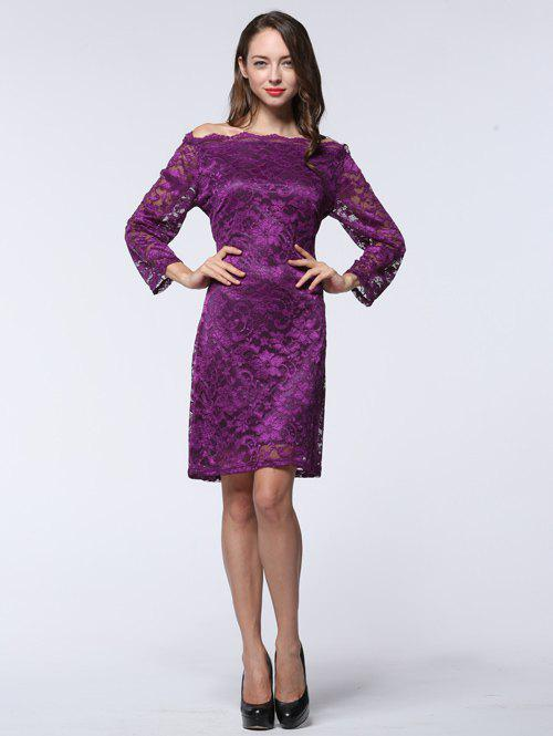 Off The Shoulder Hollow Out Skinny Slimming Dress - PURPLE 6XL
