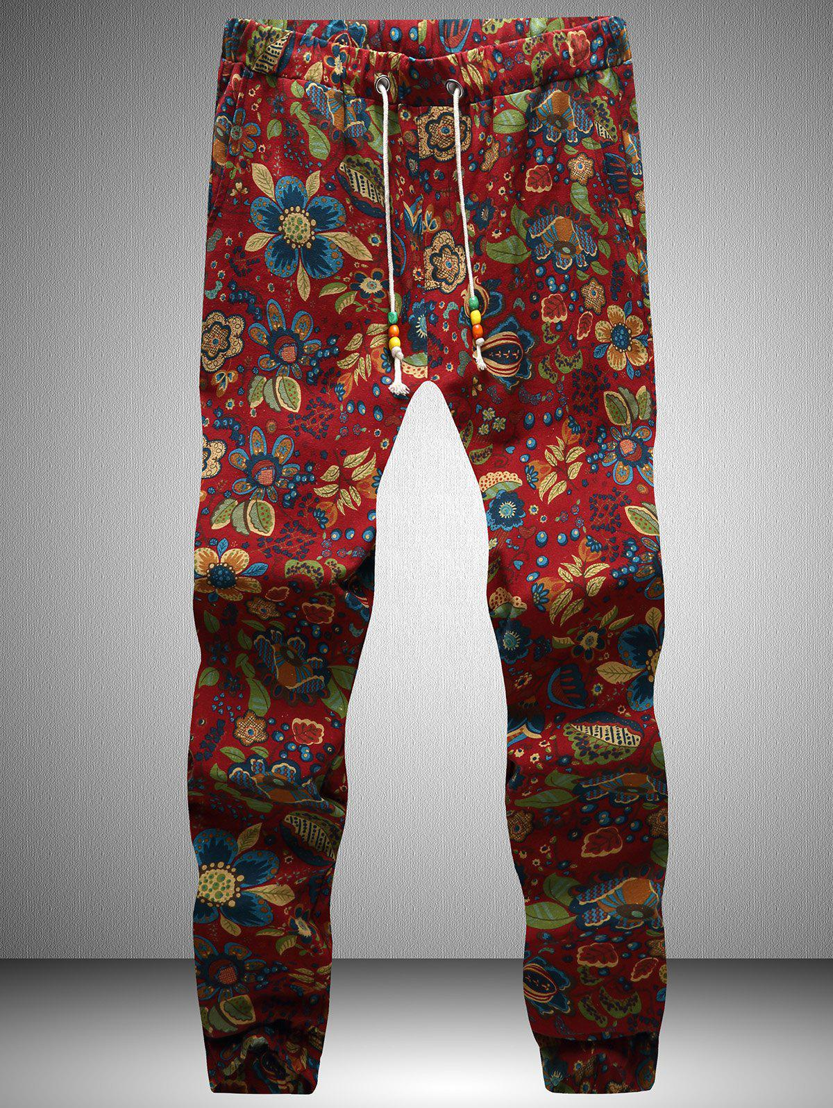 Flowers Print Drawstring Waist Jogger Pants - RED 3XL