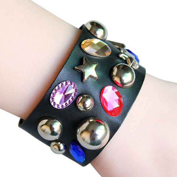 Faux Gem Rivet Pentagram Leather Bracelet - COLORMIX