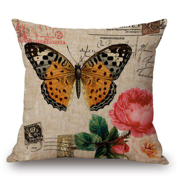 Retro Style Milkweed Butterfly and Flower Printed Pillow Case - LIGHT KHAKI