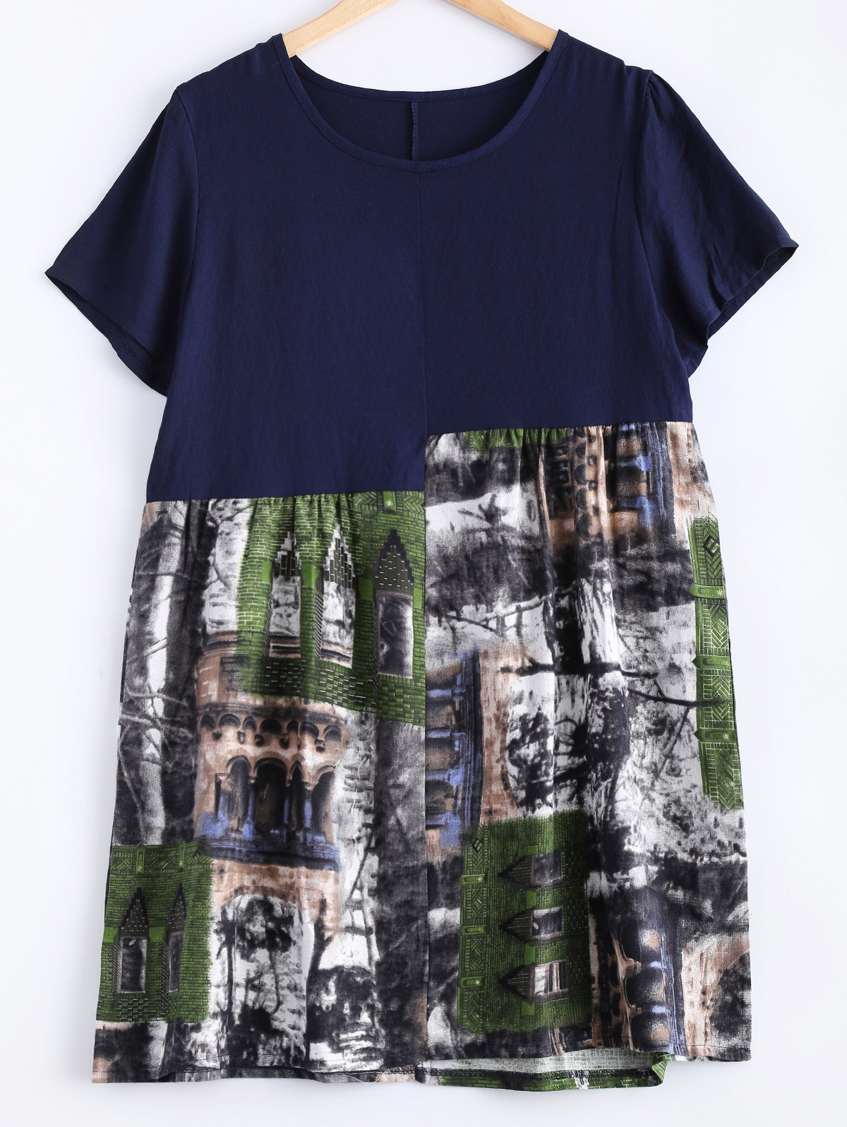 Casual Scenery Print Mini Shift Dress - PURPLISH BLUE ONE SIZE