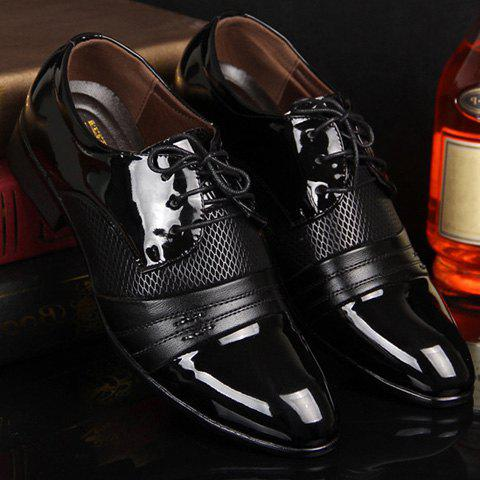 Patent Leather Hollow Out Formal Shoes - BLACK 42