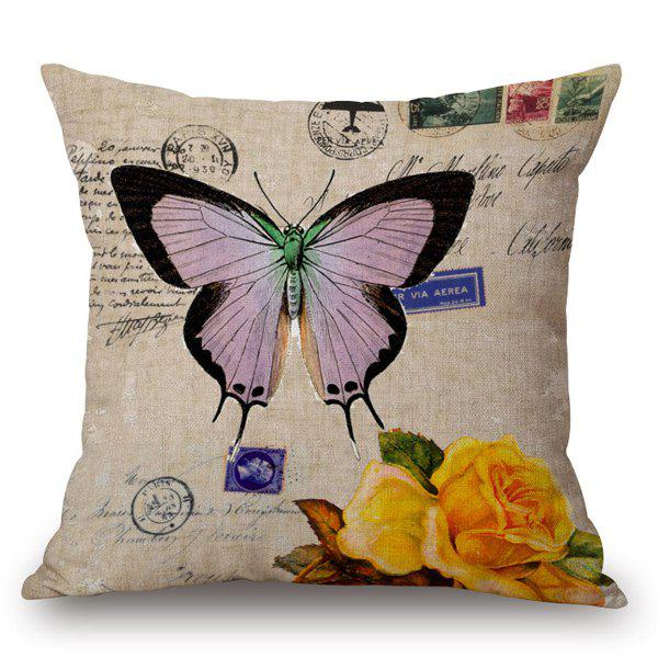Retro Style Butterfly and Rose Printed Pillow Case - LIGHT KHAKI