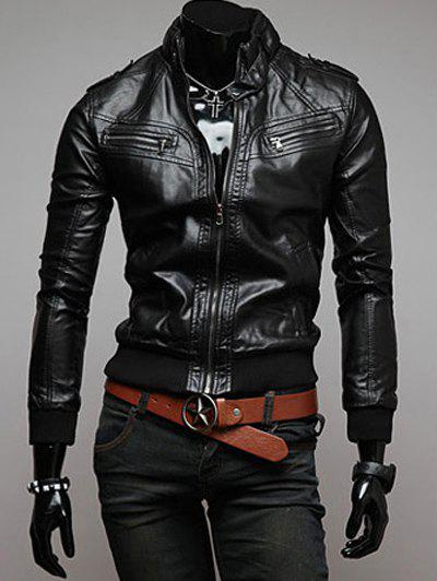 Stand Color PU Leather Jacket - BLACK 2XL
