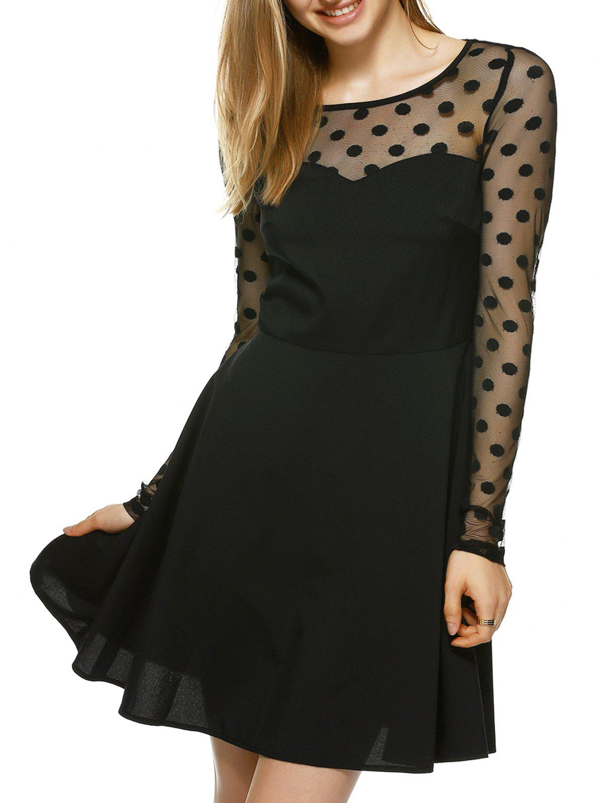 Alluring See-Through Cut Out Dress - BLACK M
