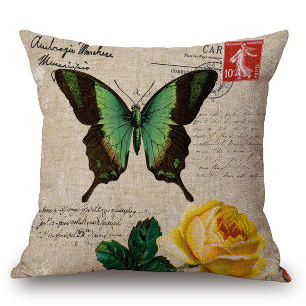 Retro Style Papilio and Rose Printed Pillow Case - LIGHT KHAKI