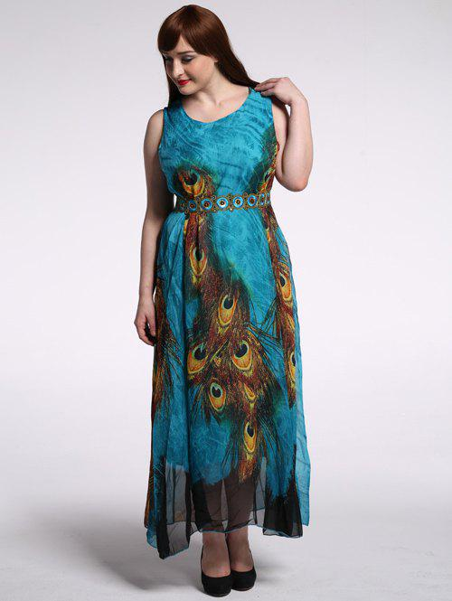 Plus Size High Waist Peacock Print Dress
