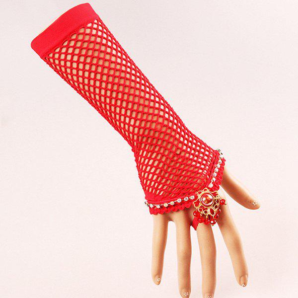 Rhinestone Lace Grid Glove Bracelet - RED